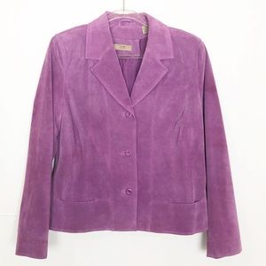 EUC I.E. petite purple suede leather blazer jacket